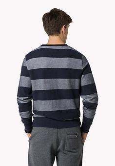 Gestreifter Sweater Mit Wabenmuster