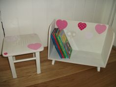 Vintage kids stool & book trough, painted waxed & decoupage. Lovely in any little girls room.