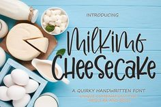Milkimo Cheesecake is a sweet and modern handwritten font. Its casual charm makes it appear wonderfully down-to-earth, readable and, ultimately,.