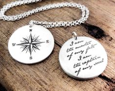 Compass Necklace Invictus quote  Inspirational by lulubugjewelry, $69.00