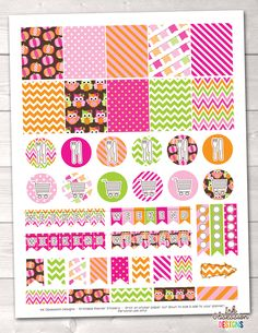 Pumpkin Owls Pink Printable Planner Stickers Weekly Kit – Instant Download PDF for your Erin Condren Life Planner