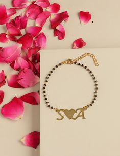 dual black metal ball bracelet with heart shape pendant for woman 4.5mm double round black metal beaded bracelet harts charm  micro pave
