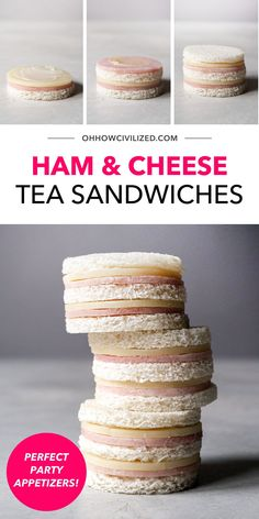 Welcome the perfect party appetizers! These ham and cheese tea sandwiches are super easy to make (and you can make them with your kids too). No cooking is necessary! Click to get started. High Tea Sandwiches, Finger Sandwiches, Sandwich Recipes, Snack Recipes, Hot Tea Recipes, Tea Time Snacks, Best Tea, Ham And Cheese, Appetizers For Party
