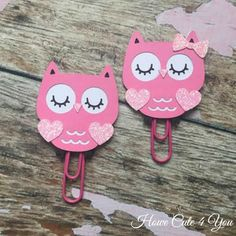 Pink Valentine Owl Page Clip FiloFax Erin Condren by HoweCute4You