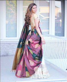 How about reusing an old saree from your mums closet and wearing it as a lehenga dupatta? it is affordable, chic and looks super stylish. Saree Wearing Styles, Saree Styles, Sari Draping Styles, Indian Wedding Outfits, Indian Outfits, Lehenga Saree Design, Lehenga Dupatta, Anarkali, Half Saree Designs