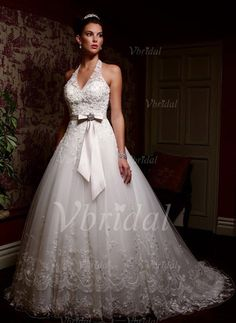 Wedding Dresses - $206.10 - Ball-Gown Halter Chapel Train Satin Tulle Wedding Dress With Lace Sash Beading Crystal Brooch Bow(s) (00205001416)