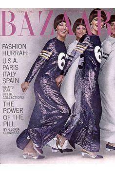 Cover photographed by Hiro, September 1967 Here is a foldout cover with Geoffrey Beene pailette evening dresses inspired by football jerseys. The superimposed models celebrate motion and the energy of youth.   - HarpersBAZAAR.com