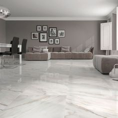Stylish white gloss marble effect floor tiles at trade prices from Direct Tile Warehouse. See quality large floor tiles including large white floor tiles Living Room White, White Rooms, Living Room Modern, Living Room Designs, Living Rooms, Kitchen Living, Living Spaces, Big Kitchen, Green Kitchen