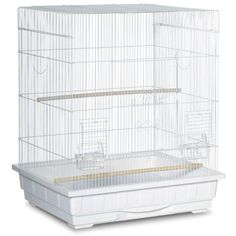 Prevue Pet's Square Roof bird cage is ideal for x-smal to medium sized birds. Powder coated with a non-toxic and pet safe steel mesh, this cage includes a bottom grille with pull-out plastic bottom tray for ease of cleaning. Parakeet Cage, Cockatiel Cage, Pallet Ideas, White Bird Tattoos, Bird Cage Stand, Homemade Bird Houses, Mosaic Birdbath, Black And White Birds, Diy Bird Feeder
