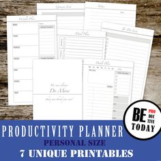 PERSONAL Inserts Personal Size: Productivity Planner Bundle, Daily/Weekly Planner, Meal Planner, Filofax Personal, Filofax Compact, Kikki K