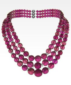Rubellite and Diamond Triple Strand Necklace