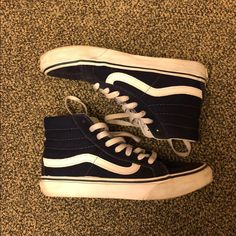 12b171967c Shop Women s Vans Blue size 6 Shoes at a discounted price at Poshmark.  Description  Canvas hi dark blue old school vans.