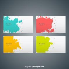 Free business cards color splash design Free Vector