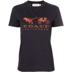 Coach Rexy Carriage T-shirt (7.905 RUB) ❤ liked on Polyvore featuring tops, t-shirts, black, cotton tees, coach t shirt and cotton t shirts