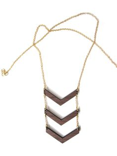 Stacked Chevron Necklace - Laser Cut Wooden Chevron Pendants & Long Gold Chain Necklace - Made to Order. $34.00, via Etsy.