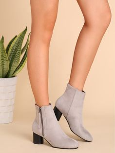 42$  Buy now - http://disyj.justgood.pw/go.php?t=10331 - Light Grey Faux Suede Almond Toe Side Zipper Short Boots 42$