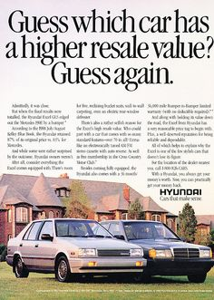 A Hyundai vs Mercedes ad from around 1988.