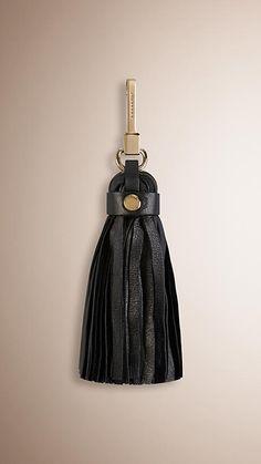 Nero Ciondolo portachiavi con nappa in pelle - Immagine 1