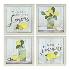 When life gives you lemons, make lemonade! Our set of whimsical Lemon Framed Art Prints combine rustic, farmhouse elegance with a valuable life lesson. Lemon Kitchen Decor, Yellow Kitchen Decor, Kitchen Themes, Farmhouse Kitchen Decor, Country Farmhouse, Frames On Wall, Framed Wall Art, Framed Art Prints, Wall Art Decor