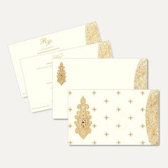High quality vellum paper bordered with golden floral print and a beautiful paisley motif treated with delicate kundan work is a delightful card. Envelope is made of textured card paper and as a border.