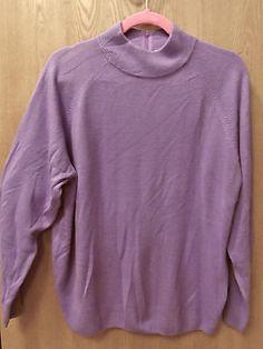 Studio Works Plus Size 2X Purple Long Sleeve Sweater Back Zipper