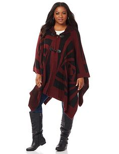 Tribal Wrap | Catherines Style takes shape in our soft new wrap featuring a unique tribal print and a spacious hood. Pair it with any of our leggings and boots to complete your fall look. Openfront with faux leather toggle closures.