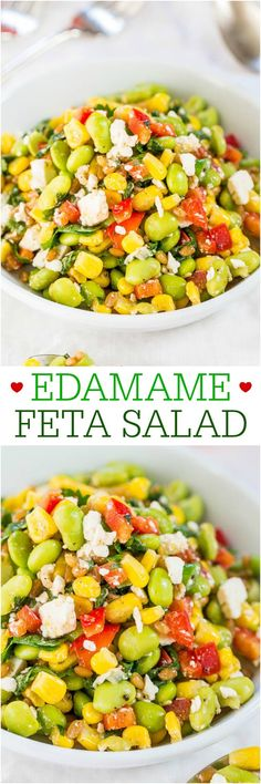 Edamame Feta Salad - Fast, easy, healthy, and packed with bigtime texture and bold flavors! Easily adaptable based on what's in your fridge!! Healthy never tasted so good!!