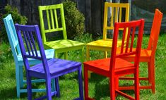 Twig and Toadstool: Rainbow Chairs Furniture Redo, Painted Furniture, Painting Kitchen Chairs, Rainbow Connection, Santa Marta, Ikea Chair, Outdoor Chairs, Outdoor Decor, Restaurant Chairs