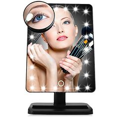 LED Makeup Mirror with Removable 10x Magnifying Mirror 20 LED Touch Screen Dimming Vanity Mirror Cosmetic Mirror with Bidirectional Rotation Beauty Mirror for Tabletop Dressing Shaving Black -- Visit the image link more details. (This is an affiliate link) #MakeupSkinCare