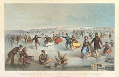 Skating In Central Park. New York  Winslow Homer