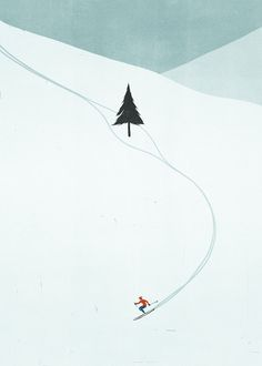 skiing, illustration, design, drawing, cute, winter, christmas, colour