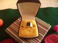 Men's Black Onyx Ring Chunky Vintage Gold by NAESBARGAINBASEMENT