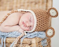 Crochet Baby Hat - Earflap Hat with Ears - Size 0-3 Months - Newborn - Ready to Ship on Etsy, $10.00