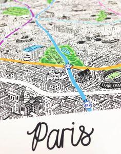 Une jolie carte de Paris dessinée à la main