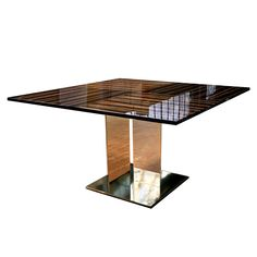 For Sale on - This exquisite square table is inspired by the Modern Movement and its rigorous design. From the metal base, vertical elements rise to support a wood Modern Dining Table, Dining Room Table, Console Table, Square Kitchen Tables, Square Tables, Brown Furniture, Cool Furniture, Vintage Table, Home Furnishings