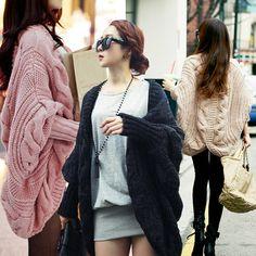 economico, Acquista direttamente dai fornitori cinesi:   Moda inverno/autunno 2014 donne cardigan 7 colori addensare manica a pipistrello sciolto maglia scialle delle donne maglione outerwear w37  coloreRosa pallido/kaki/nero/grigio scur