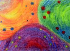 in deze tekening worden vooral tertiaire kleuren gebruikt. oranje, paars en groen