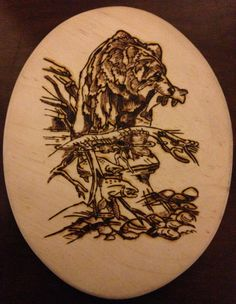 Beautifully Handcrafted Grizzly Bear Fishing by TheBohemianAtelier