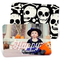 A full-size photo covers the front of these Halloween photo cards, making a memory for those who aren't there to see your little pumpkin. #halloween #halloweenphotocards #peartreegreetings