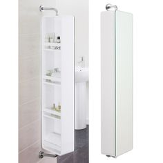 combining a mirrror with four storage shelves this cabinet is great for a smaller compact bathroom hide all your products on the back of the mirror : dwell bathroom cabinet