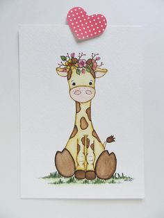 Nursery giraffe art watercolor painting original by Waterblooms