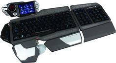 """The display design is apart of Rigging Deck for spook. The massive MadCatz S. 7 is the """"Batmobile of keyboards."""" It has a built-in LCD screen all its own, back-lit keys, three wrist-rests, and two customizable keyboards. Windows Xp, Desktop, Best Pc, Custom Pc, Cool Tech, Gaming Setup, Apple Products, Cool Gadgets, Computer Accessories"""