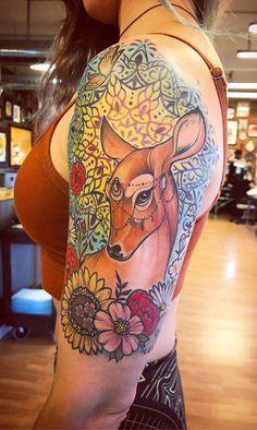 Deer tattoo, green eyed beauty. By Henry Quiles, Til Death Tattoo, Denver - Imageix