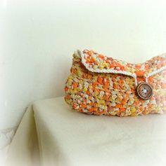 fabric crochet clutch bag
