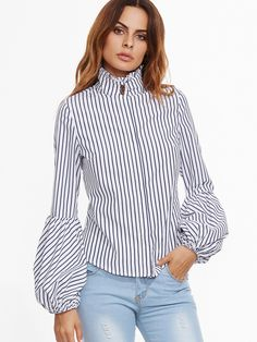 Online shopping for White Vertical Striped Ruffle Collar Lantern Sleeve Blouse from a great selection of women's fashion clothing & more at MakeMeChic.COM.