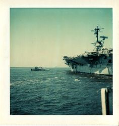 We were called upon many times to provide one or two tugs to assist the USS Lexingtion with docking or undocking at NAS Pensacola. I was on one of our  harbor tugs and took this photo of the undocking. You can see the towline of the tug next to me in the photo.