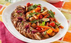 Stekt fläskfilé med grönsaker och sås
