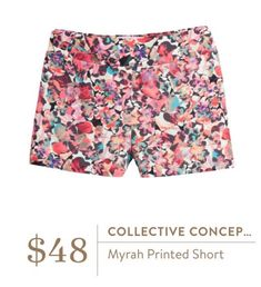 Ashleigh, love love love these! Love the color and print! So fun!! Collective Concepts Myrah Printed Shorts