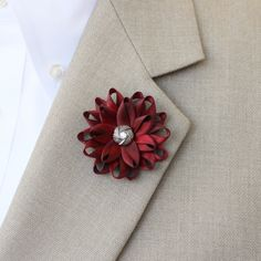 Mens Lapel Flower, Mens Flower Lapel Pin, Dark Red Boutonniere, Gifts for Men, Lapel Flower for Men, Men's Lapel Pin, Red Lapel Flower Pin