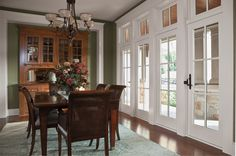 Hinged Frenchwood patio doors open wide for a grand entrance or accessiblity.